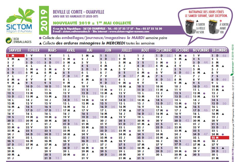 Calendrier Sictom.Acutalites De La Commune De Beville Le Compte